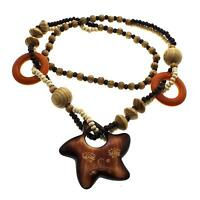 Hip Hop Pentagram Pendant Wood Rosary Fashion Jewelry Sweater Chain Necklace