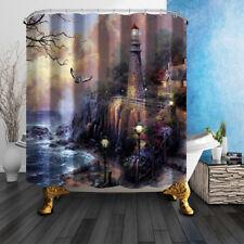 Eagle Lighthouse In Sea Decor Bathroom Shower Curtain Fabric w/12 Hook 71*71inch