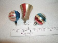 Vintage antique Patriotic Christmas Ornament Red White and Blue lot bell stripes