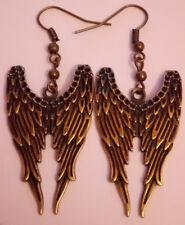 Angel wings earrings antique bronze dangle