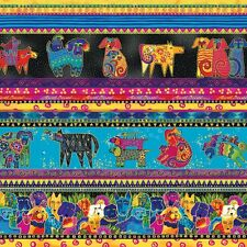 DOGS AND DOGGIES Running Stripe Laurel Burch Quilt Fabric Y1796-56M ~ by 1/2 yd