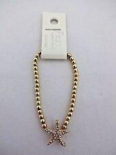 Gold starfish bracelet rhinestone base metal stretch small beads 7.25 inch fresh