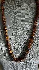 Vintage tigers eye string of stone chips necklace stone talisman
