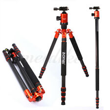Orange Z888C Carbon Fiber Tripod Travel Monopod With Ball Head Stand For Camera