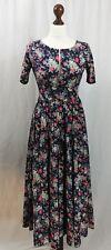 Designer Laura Ashley Stunning Navy Floral Vintage Style Dress Size S 6-8 (AB7)