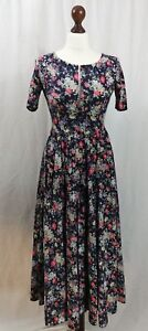 Designer Laura Ashley Stunning Navy Floral Vintage Style Dress Size S 6-8 (AB11)