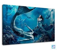 Fantasy world of Mermaids under deep blue ocean Canvas Wall Art Picture Print