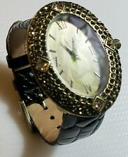 with Swarovski Crystals - Size M/L Heidi Daus Gorgeous Black Leather Band Watch