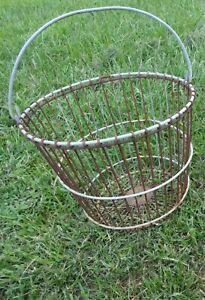 Vintage Wire Metal Egg Basket Old