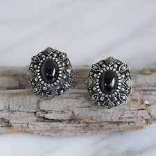 Sterling Silver 925 Marcasite & Black Agate Large Oval Stud Earrings RRP $105
