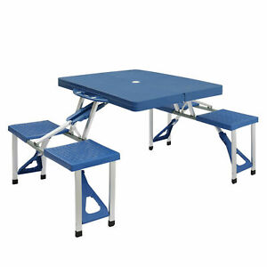 Outdoor Portable Thickening Plastic Siamese Folding Tables Chair Seat Set