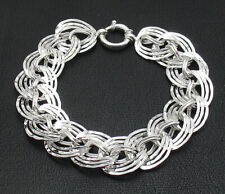 Hammered Triple Curb Woven Link Chain Bracelet Real 925 Sterling Silver