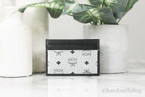 MCM Visetos Mini Leather Berlin Silver Metallic Diamond Card Case Wallet