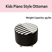 Kids Sofa Ottoman Chair Round Piano Footrest Upholstered Stool Home Furniture