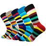 5 Pairs Mens Cotton Socks Lot Funny Colorful Rainbow Stripes Casual Dress Socks