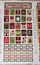 "Glad Tidings Santa Reindeer Tree Present Advent Calendar Fabric Panel 23"" #8759P"