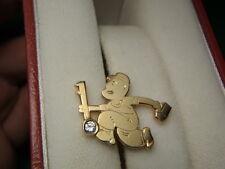14k Gold Diamond Locksmith with Key Lapel Pin Tie Tack Handmade LOT 1254