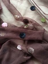 Brown Tone Tulle with  Colourful Sequin Medallions