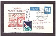 5322) GERMANY 1962 50 Deutsche Luftpost Rocket Zeppelin