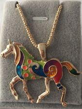 Gold Plated  Multicolor unicorn Horse Pendant on a Chain