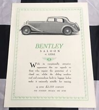ORIGINAL 1937 BENTLEY SALOON 4 1/4 LITRE BROCHURE PROSPEKT SHEET RARE