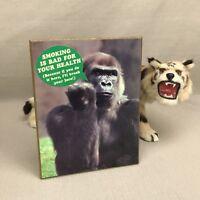 """No Smoking Vintage Wooden Plaque Gorilla """"Bad for Your Health"""" Funny Desktop"""