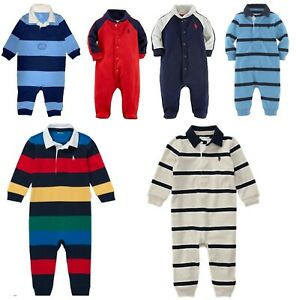 Baby Boys Ex Ralph Lauren Polo Romper babygrow newborn 3 6 9 12 m  Genuine