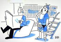 [ Humor - Presse ] Guy Valls - Mini Röcke - Zeichnung Original Unterzeichnet