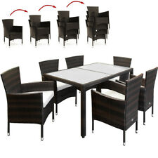 Poly Rattan Garden Table Chairs Dining Set Patio Furniture Rectangular Gl Top