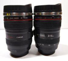 2x Canon Faux 24-105 Zoom Len Photographer Camera Coffee Travel Mug Cup