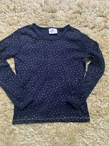 Hanna Andersson 130 Sz 8 long sleeve top navy gold glitter polka dot T Shirt