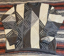 Vintage TUNDRA Sweater 100% Mercerized Cotton Brown Multicolor Graphic Print, XL
