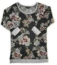 Almost Famous Tunic Sweater Women's Size L Black Gray Floral Roses 3/4 Sleeve