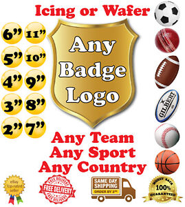 Any Football Team Any Team Any Sport Any Club Logo Badge Wafer Icing Cake Topper