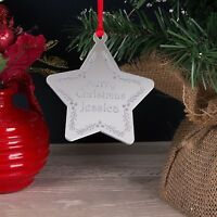 Personalised Childrens First Name Mirror Christmas Tree Decoration Bauble Gift