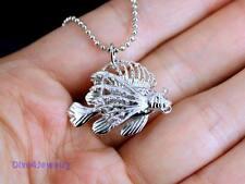 925 Sterling Silver 3D Lionfish Pendant Necklace Sea Ocean Fish Aquarium AUST