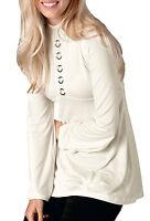 UK Sizes 6 - 24 Ladies Ivory High Neck Ring Long 60's style Tunic Top