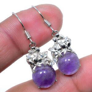 """African Amethyst & Cubic Zirconia Solid 925 Sterling Silver Earring 1.37"""" S2639"""