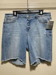 Energie Womens Juniors Bermuda Jeans Shorts Size 17 Light Wash Fringe New NWT