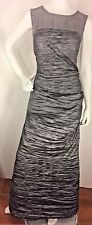 Alex Evenings  METALLIC GRAY Off-Shoulder Stretch Taffeta Gown maxi dress Sz 14