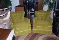 CHAIR SET 1970s GREEN Atomic Vintage Bassett Furniture Mid Century Lounge Rocker
