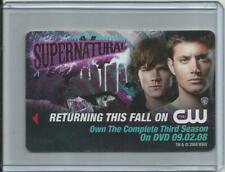 "2008 Supernatural (Plicards) HOTEL KEY CARD ""Returning This Fall On CW"""