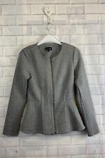 🍄 TOPSHOP 🍄 Grey Zip Up Fitted Peplum Jacket Uk 10
