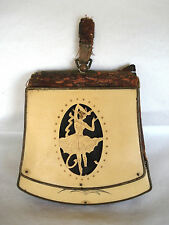 ANTIQUE Victorian EDWARDIAN Ballerina PURSE Handbag BONE & LEATHER Bag ~ RARE