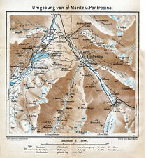 CH St. Moritz Dorf + Bad + Pontresina 1925 kl. orig. Landkarte + Reisef. (8 S.)