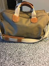 Abercrombie & Fitch Vintage Canvas Duffle Bag With Zip Closure & Leather Handles