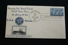 PATRIOTIC COVER 1945 1ST DAY ISSUE NAVY DAY HONORING THE U.S.NAVY CROSBY (2395)