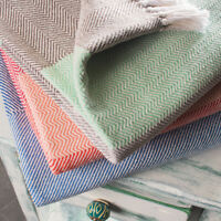 ⭐ Herringbone 130x180cm Cotton Chevron Sofa Settee Bedspread Throw Fair Trade