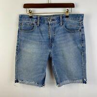 LEVI'S Mens 511 Denim Shorts W34 Blue Distress Denim