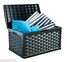 KISSENBOX GARTENBOX IM RATTAN DESIGN FARBE: SCHWARZ CA.117x56x56CM NEU/OVP